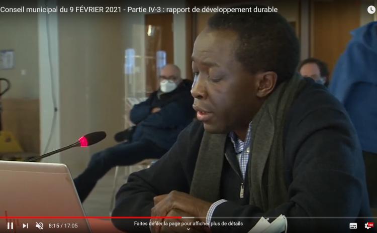 Les vidéos du conseil municipal du 9 février :Joseph Nonga