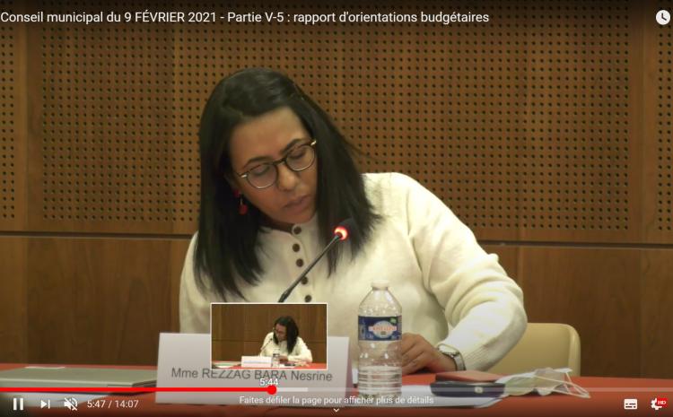 Les vidéos du conseil municipal du 9 février :Nesrine Rezzag Bara