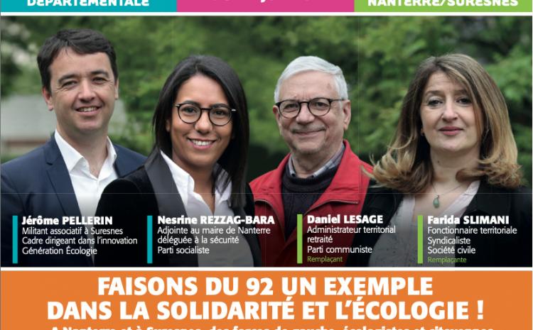 #Departementales – Canton Nanterre-Suresnes : Le 20 juin, Faisons du 92 un exemple dans la solidarité et l'écologie. Votez pour le rassemblement des forces de gauche écologistes et citoyenne !